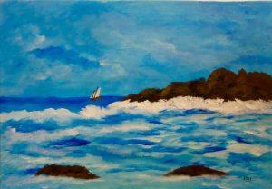 Mer bleue, Kyna de Schouël artiste peintre