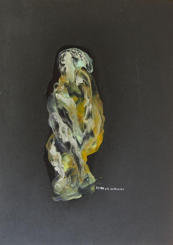 Les déesses en hiver, peinture abstraite, Kyna de Schouël artiste peintre