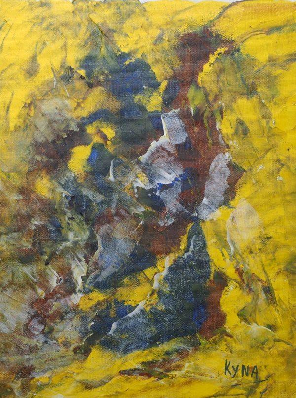 La soufrière, art abstrait, Kyna de Schouël artiste peintre