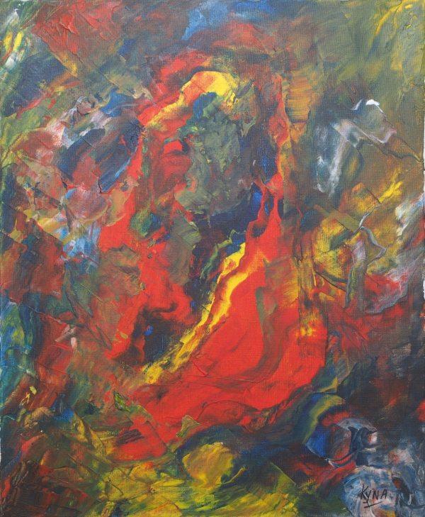 Volcan, art abstrait, Kyna de Schouël artiste peintre