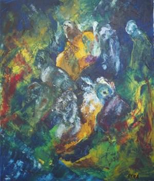 Détente, peinture abstraite, Kyna de Schouël artiste peintre