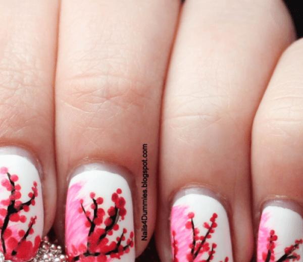 Mẫu nail tết hình hoa đào đẹp mắt