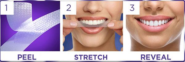 Các bước sử dụng miếng dán trắng răng Crest 3D White