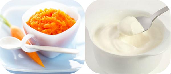 Cà rốt và sữa chua giúp làm trắng da nhanh chóng