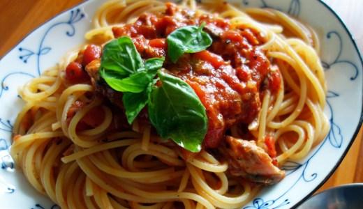 とっても手軽。サバ缶トマト缶を使ってサバトマトパスタ。
