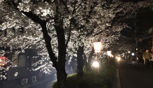 グローバル・エルシードのホテルと夜桜満開の『木屋町通』と焼肉アジェ