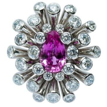 PINK SAPPHIRE RING FD0013 PINK SAPPHIRE 1.980 ct DIAMOND 2.380 ct PLATINUM 900