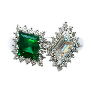 Zambian Emerald/Diamond Ring