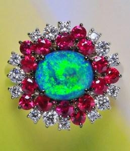 Black Opal and Burmese Ruby Ring BC5201