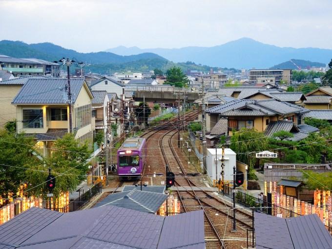 京都・嵐電「嵐山駅」屋上からの眺め