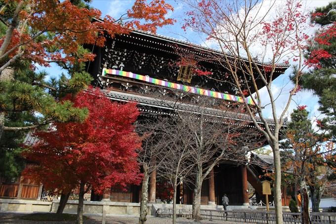 5金戒光明寺の三門(表側)と紅葉