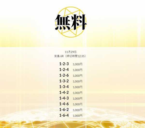 11/29皇艇の無料予想