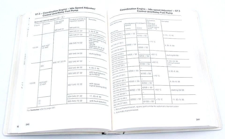 1986-89 Mercedes Technical Data Adjustment Values Spec