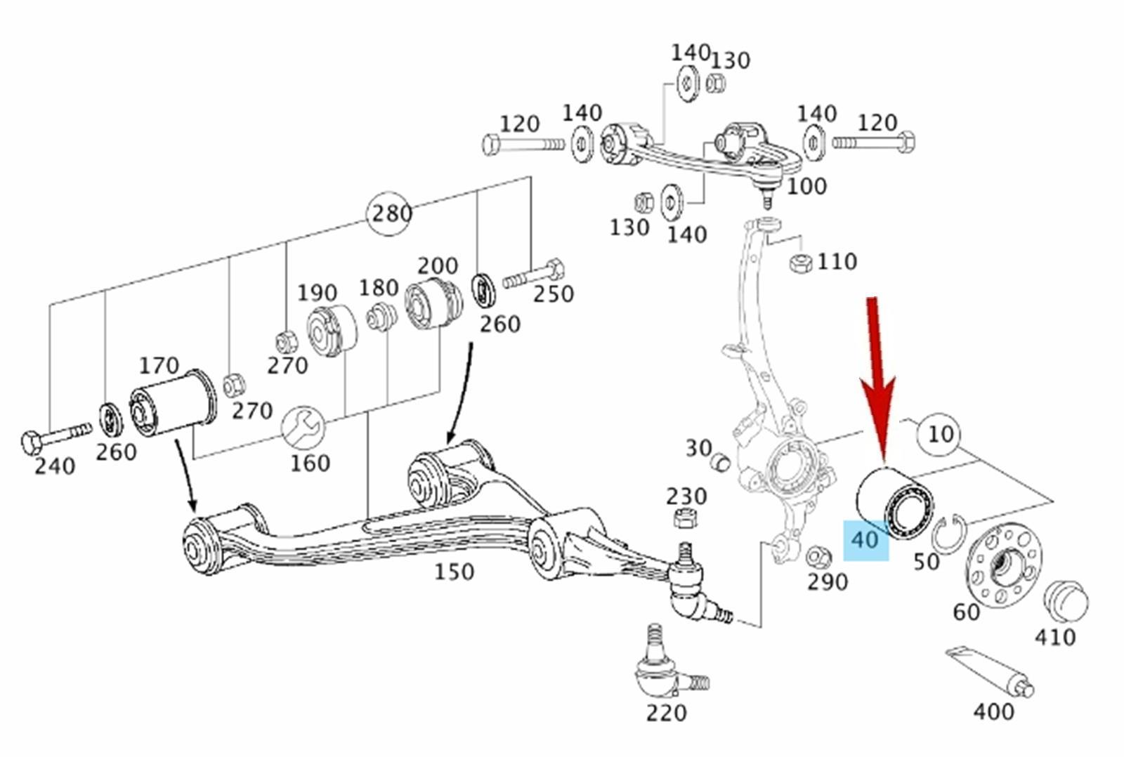 4Matic Front Axle Wheel Bearing 2003-09 Mercedes E320 E350