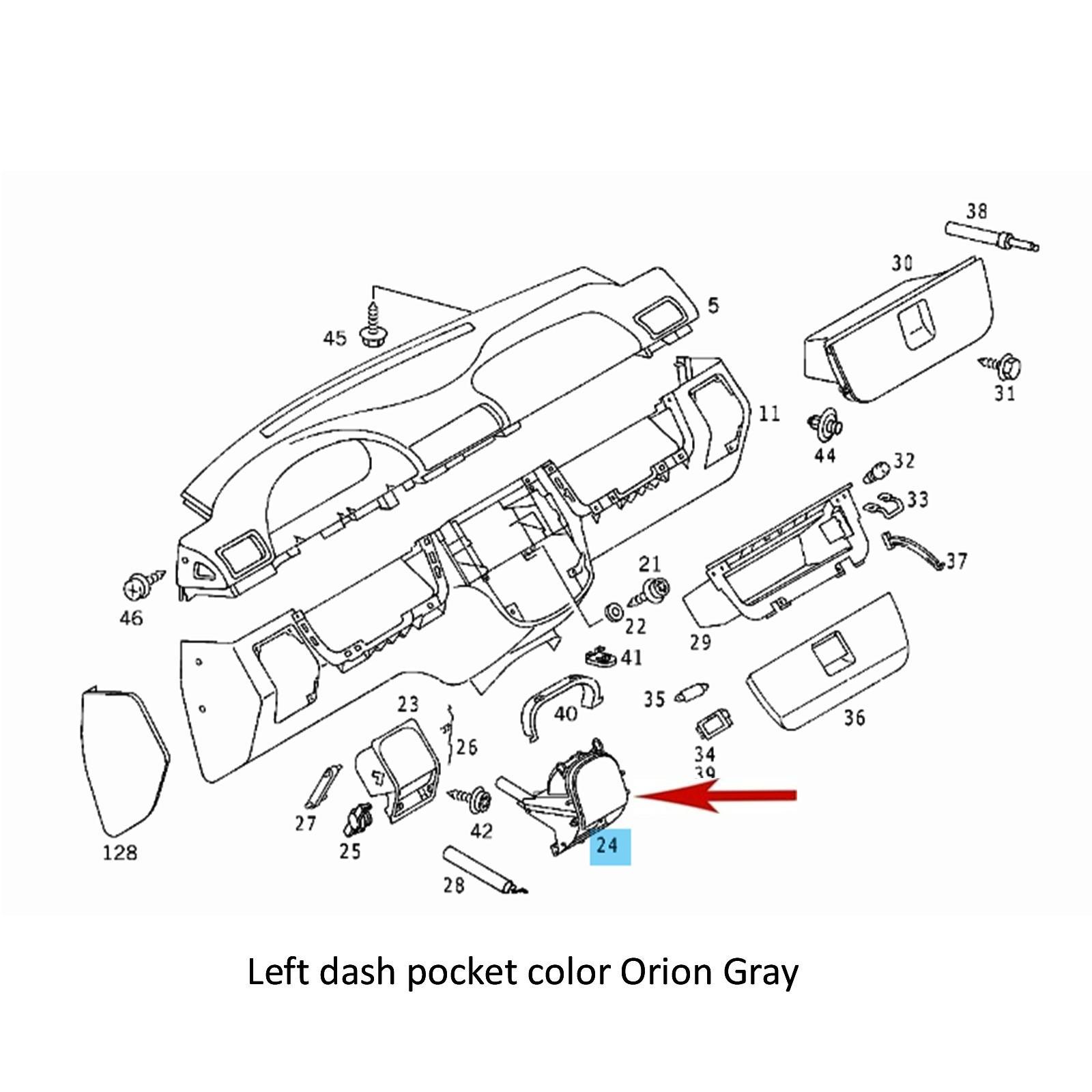 New Orion Grey Left Side Dash Pocket 2000-05 Mercedes ML