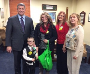 Senator Ray S. Jones II, D-Pikeville, met with guests on Feb. 2 representing Pathways Inc. Visiting were Dax Watts with his mother, Celeste Watts, Paige Smith, an occupational therapist, and Dr. Kimberly K. McClanahan, Pathways CEO.