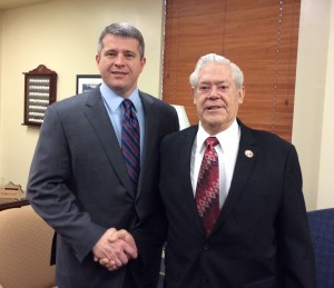 Senator Ray S. Jones, D-Pikeville, met with Lawrence County native Lloyd Moore, who is a member of the Masonic Lodge in Lawrence County, today. Moore was in Frankfort for All Masons Day at the Capitol. He and other masons around the state were recognized on the floor of the Kentucky State Senate on Feb. 2.
