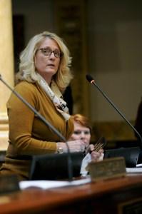 Senator Robin Webb, D-Grayson (right), debates a bill up for consideration in the Kentucky State Senate.