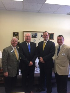 Senator Johnny Ray Turner (second from the left), D-Prestonsburg, met with Hazard Community and Technical College representatives on Feb. 18 in Frankfort. Pictured left to right: Doug Fraley, Turner, Interim President Juston Pate and Stephen Bowling.
