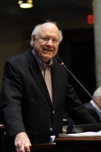 Senate Democratic Caucus Whip Julian M. Carroll, D-Frankfort, speaks against a bill to restructure the Kentucky Horse Park in the Kentucky Senate.