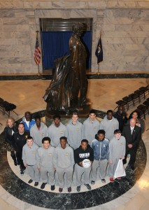 """Senator Johnny Ray Turner, D-Prestonsburg, recognized the Cordia High School Lions boys' basketball team on Feb. 24 in Frankfort for winning the All """"A"""" Classic championship. The Senate adopted Turner's Senate Resolution 139 honoring the Cordia Lions up on their title win."""