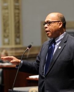 Senator Reggie Thomas debates a bill up for consideration in the Kentucky Senate.