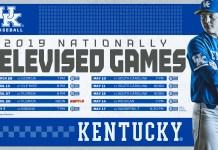 Nationally televised games for university of kentucky baseball 2019