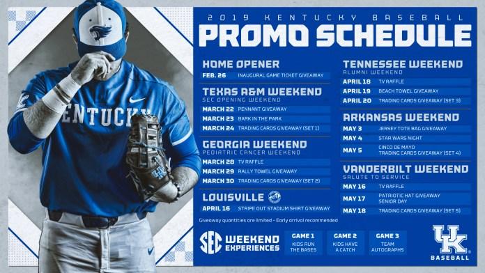 University of Kentucky Baseball promo schedule 2019