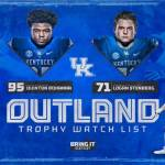UK Football's Bohanna, Stenberg Named to Outland Trophy Preseason Watch List