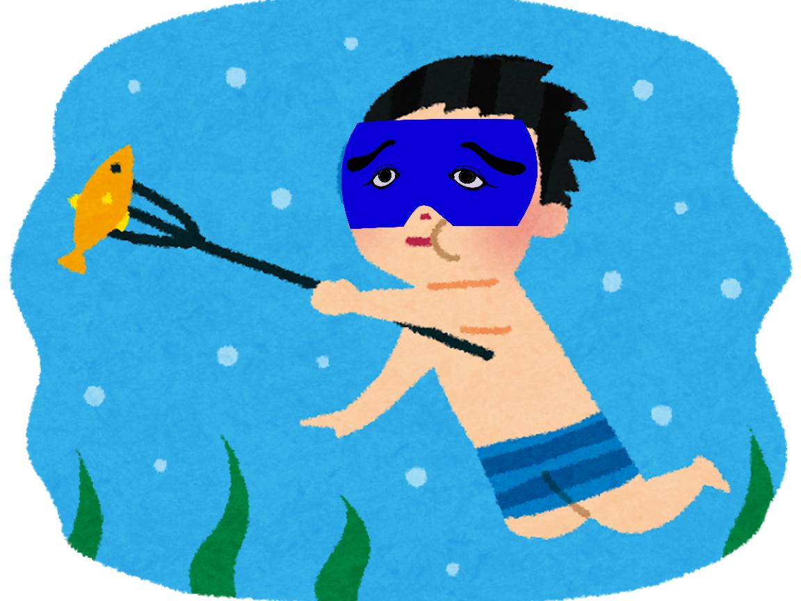 夜はそろりそろりと魚に近づき、そして銛で突く!