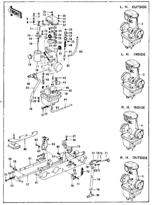 CARBURETORS for 1976-77 Kawasaki KZ900, Z1, KZ1000 and Parts