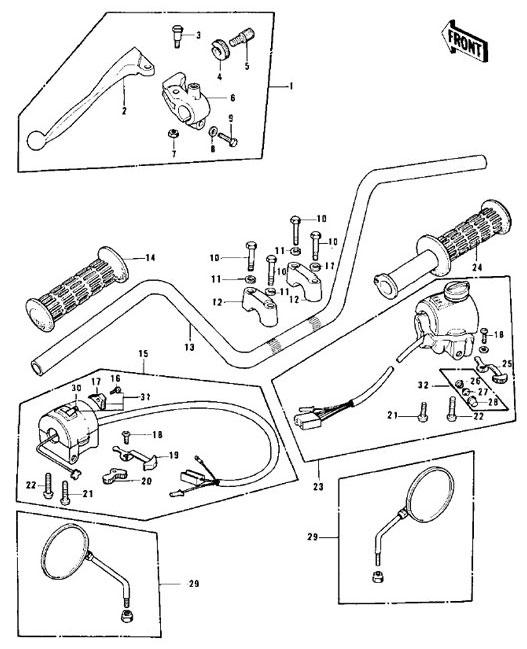 HANDLEBAR CONTROLS for Kawasaki KZ900