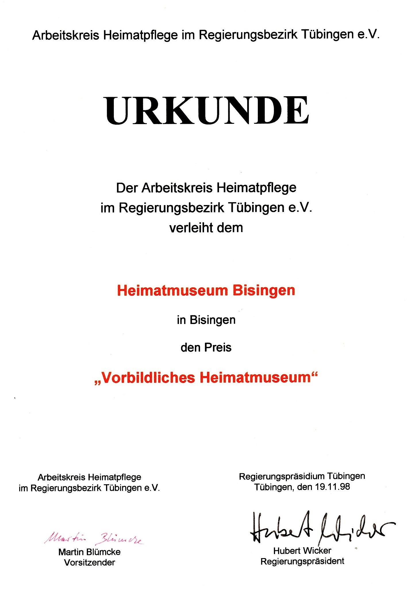 Urkunde-Heimatmuseum 1998