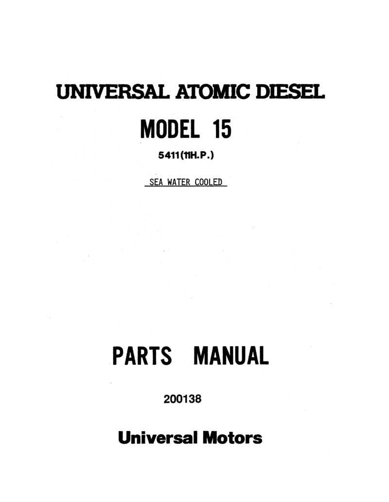 Universal Diesel 5411 Parts Manual