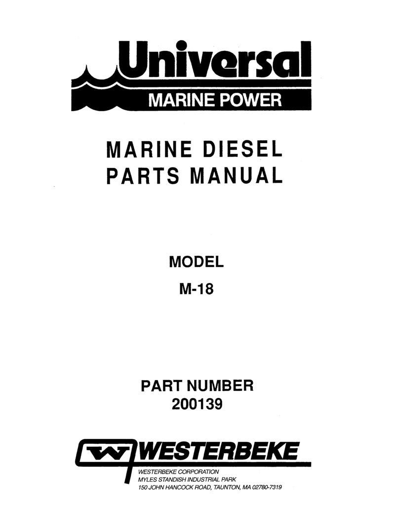 Universal Diesel M 18 Parts Manual