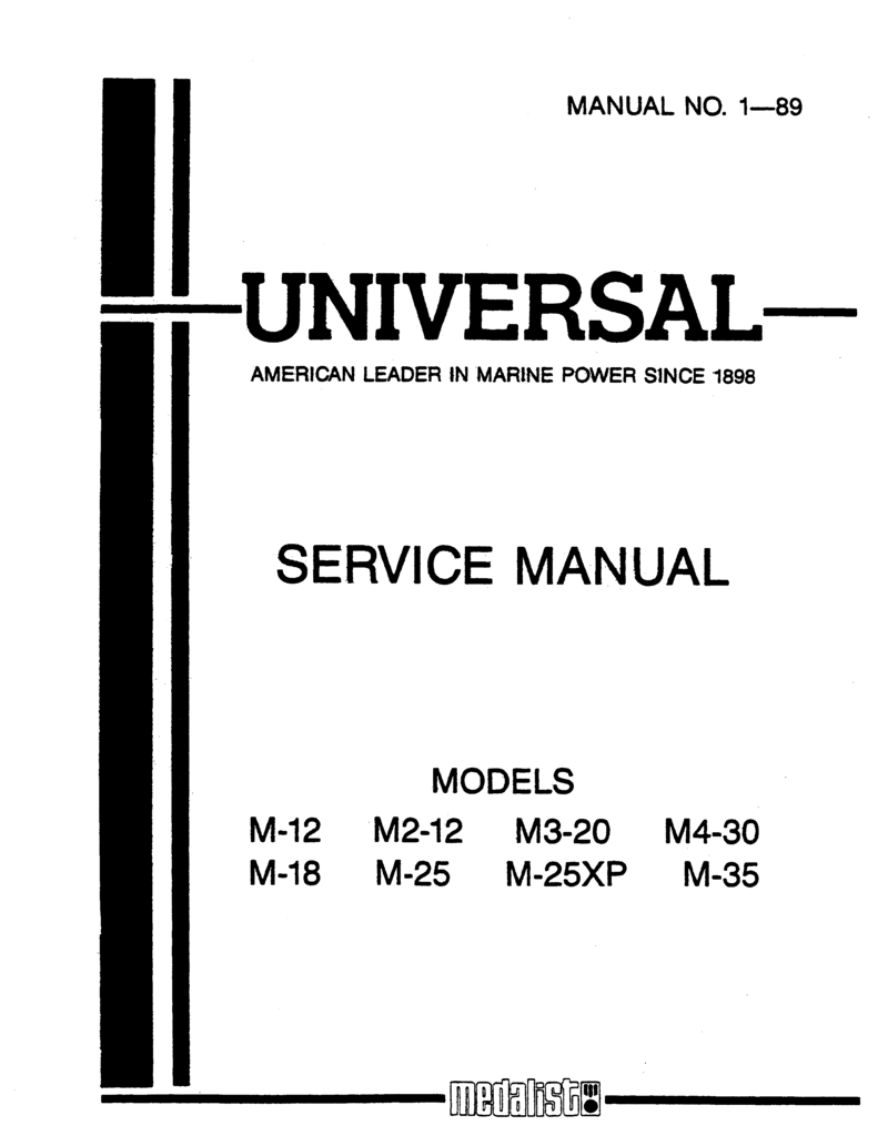 Universal Diesel M3 20 Technical Manual