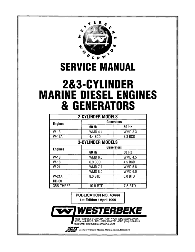 Westerbeke Diesel W 13a Parts Manual