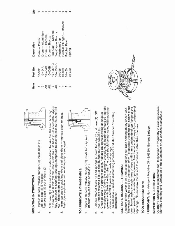 Winch Service Manual for Barient No. 10P