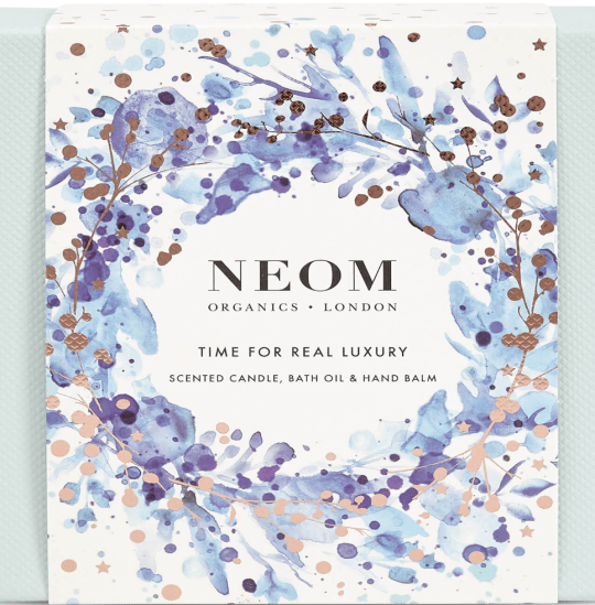 Neom luxury scented candle, bat oil and hand balm
