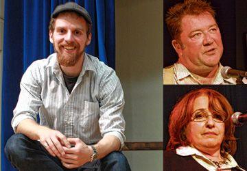 Pierre McLaughlin (le père), Geneviève Brouyaux (la mère) et, à gauche, le metteur en scène de Fragments de mensonges inutiles, Matthieu Bister.