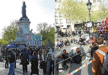 Envahie par les manifestants contre un projet de loi sur la libéralisation du travail, la place de la République est devenue le lieu de toutes les revendications.