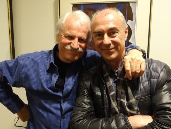 Le réalisateur et le directeur de la cinématographie de Human: Yann Arthus-Bertrand et Bruno Cusa, à l'Alliance française de Toronto le mardi 18 avril.