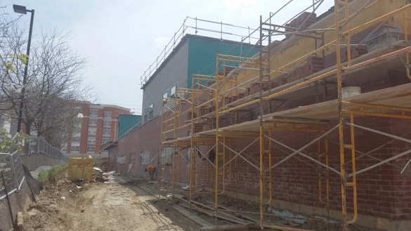 Le chantier de l'école secondaire catholique Père-Philippe-Lamarche à Scarborough, il y a quelques semaines.