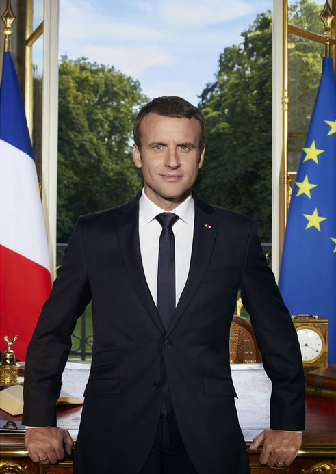 La photo officielle du président français Emmanuel Macron. (Photo: Soazig de la Moissonnière)