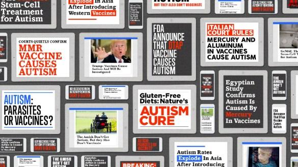 Des manchettes sur l'autisme. Les informations fausses ou trompeuses sont les plus partagées.(Photo: BuzzFeed)
