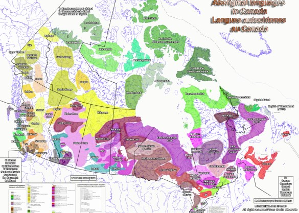 Les langues autochtones au Canada. (Source: Rapport «Autochtones du monde en action» (2014) de Carrefour Tiers-Monde.