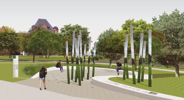 Une forêt, une clairière et un sentier dans le futur monument aux Franco-Ontariens à Toronto.