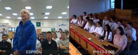 Une vidéoconférence, jeudi après-midi, a permis aux élèves de PRDG en visite en Suisse de répondre aux questions de journalistes et de leurs proches à Cambridge, dont la directrice de leur école, Joanne Leblanc-Holden.