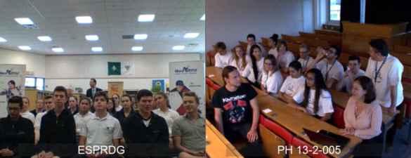 Une vidéoconférence, jeudi après-midi, a permis aux élèves de PRDG en visite en Suisse de répondre aux questions de journalistes et de leurs proches à Cambridge. Pendant un moment, un scientifique du CERN a participé à la conversation.