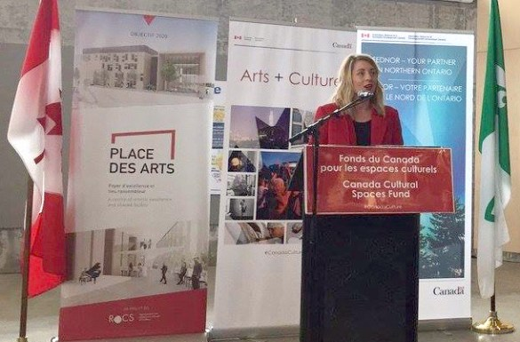 La ministre Mélanie Joly à Sudbury lors de la récente annonce du financement fédéral à la nouvelle Place des arts.